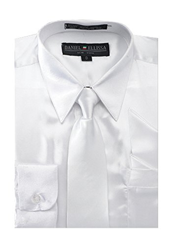 Boy's Satin Dress Shirt with Matching Tie and Hanky Set - White 8