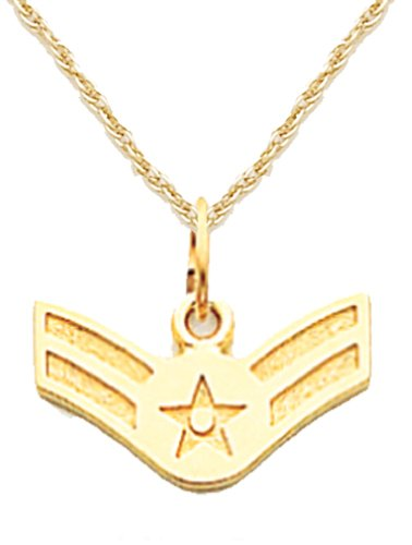 (US Jewels And Gems 14k Yellow Gold US Air Force Airman First Class Military Pendant 1.6mm Rope Chain Necklace)
