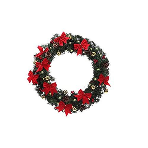 homegear 30 pre lit christmas wreath with 50 led light bulbs - Pre Lit Outdoor Christmas Wreaths