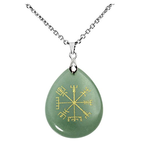 Shield 5/8' Jewelry Pendant - QGEM Green Aventurine Guidepost Compass Vegvisir Pendant Necklace-Natural Gemstone Engraved Ancient Northern Europe Viking Rune with Chain 24