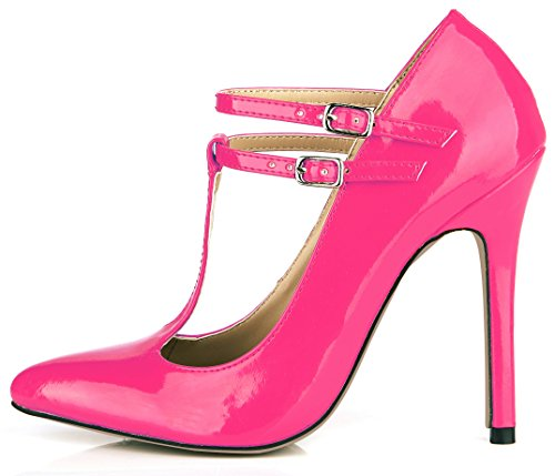 SM00114 Women Shoes Heels Pointy Multiple Leather Jane High Toe Colours 12CM Shoes DolphinGirl Strap Mary Stiletto Court Patent Pink Fashion T HfwqdI