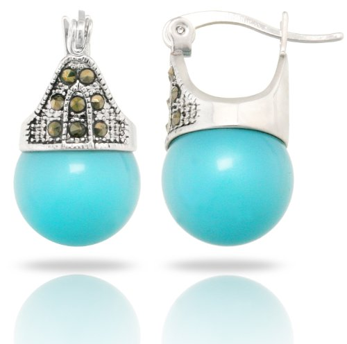 JanKuo Jewelry Rhodium Plated Turquoise Color Simulated Pearl Marcasite Earrings