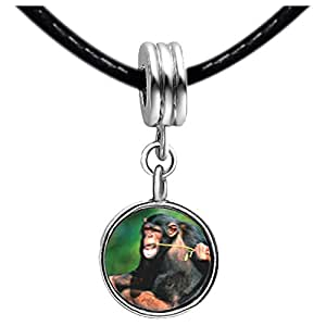 Chicforest Silver Plated Funny Monkey Photo Peridot Crystal August Birthstone Flower dangle Charm Beads Fit Pandora Chamilia Biagi Charm Bracelet