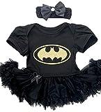 Little Secrets Childrens Clothing Baby Girl's Gold Batman Black Tutu Romper Bow Headband, Newborn Halloween Fancy Dress Costume Gift Present (3-6 Months)