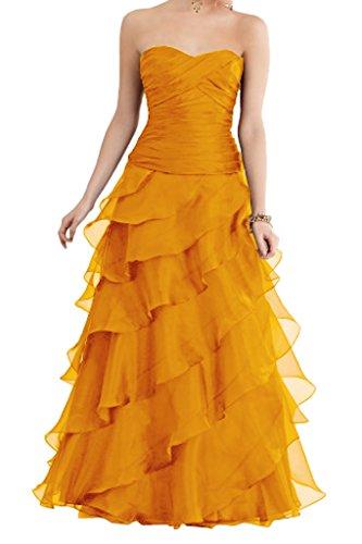 La linie Abendkleider Abschlussballkleider Einfach Traegerlos Braut mia Orange Rueschen A Partykleider Prinzess Bodenlang IZRrqIz