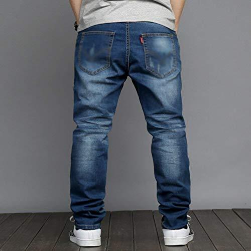 Comodo Elasticizzati Lichtblau Capispalla Per Fit Il Tempo Jeans Lunghi Slim Uomo Dritta Gamba Battercake Denim Libero FAZ7qqX