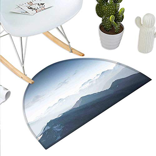 Ice Rock Climbing - Mountain Semicircular CushionFoggy Scenic Morning in Rock Mountain Region in Northern Hiking Climbing Ice Photo Entry Door Mat H 43.3