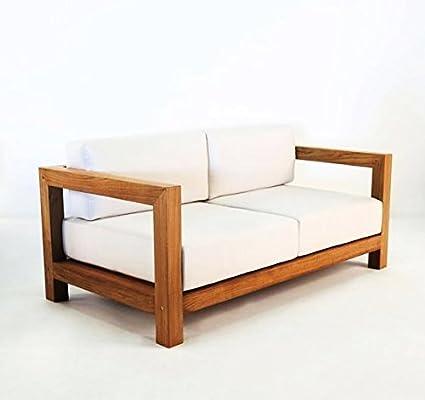 Casa Padrino Jardín 2 plazas sofá rústico Boston Crema Blanco/marrón 140 x 40 x H70 cm - Madera Maciza de Roble - Muebles de Madera sólida: Amazon.es: Hogar