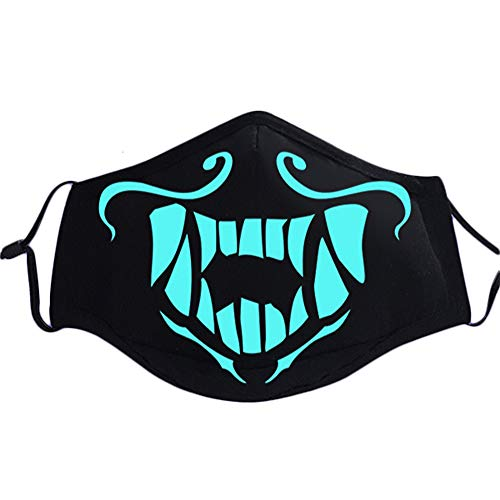 (Gankchen Fashion KDA Mask Cool Pattern Luminous Mouth Mask Mouth-Muffle Unisex Luminous Blue)