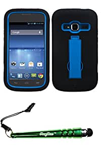 FoxyCase(TM) FREE stylus AND ZTE Z730 (Concord II)- II) Dark Blue Black Symbiosis Stand Protector Cover