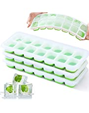 Ice Cube Trays, VEHHE 3 Pack Reusable Silicone 14-Ice Cube Molds with Spill-Resistant Removable Lid, Flexible and Odorless, for Whiskey and Cocktails