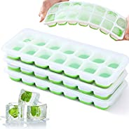 Ice Cube Trays, VEHHE 3 Pack Reusable Silicone 14-Ice Cube Molds with Spill-Resistant Removable Lid, Flexible
