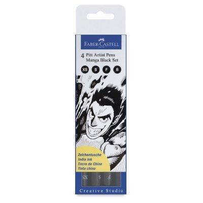 Faber-Castel 167132 PITT Artist Manga Drawing Pens, Black, 4-Pack