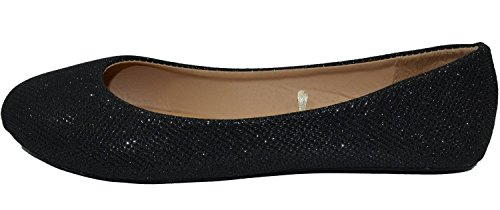 HapHop Women's Classic Ballerina Flats Round Toe Ballet Slip On Casual Fancy Comfort Shoes, Black Glitter, - Shoes Lady Fancy Flat