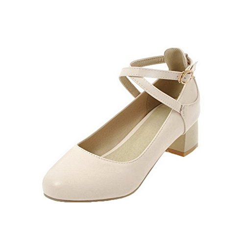 AllhqFashion Womens Round-Toe Buckle Low-Heels PU Solid Pumps-Shoes Beige fJQI6V