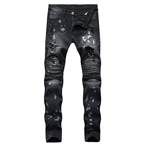 (POQOQ Men's Comfort Stretch Denim Jeans Men's Modern Series Extreme Motion Slim Straight Leg Jean S Black )
