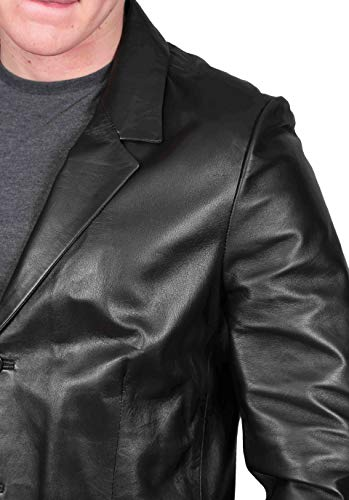 estilo abrigo Blazer cuero suave chaqueta cl para negro hombre de traje 77wxF6q