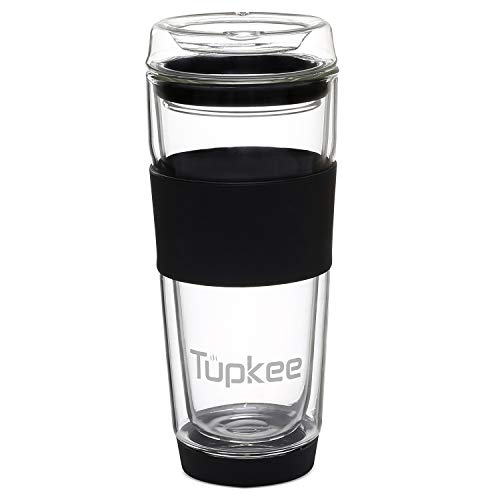 (Tupkee Double Wall Glass Tumbler - All Glass Reusable Insulated Tea/Coffee Mug & Lid, Hand Blown Glass Travel Mug, 14-Ounce, Black)