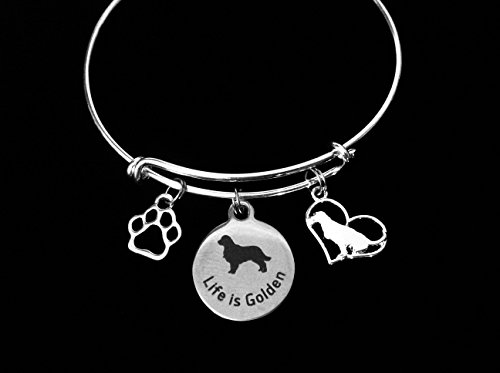 Golden Retriever Jewelry Dog Expandable Charm Bracelet Silver Adjustable Wire Bangle Labrador Retriever Paw Print Pet Animal Lover Personalization and Custom Options Available