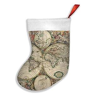 mfsore – Juego de adornos para árbol de Navidad (16,5 x 10,2 pulgadas), diseño vintage de mapamundi