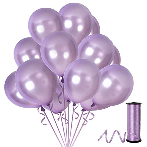 Treasures Gifted Light Lavender Purple Latex Balloons 12 inch ft Pack of 100 Pieces and Ribbons Plum Metallic Latex Decorations for Theme Bridal Shower or First Mermaid Birthday Party Supplies