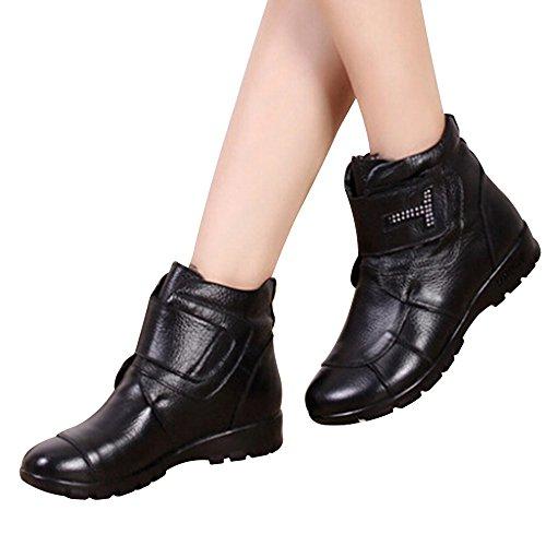Invierno Deslizante Caliente Calentar Nieve Negro Lazada Zapatos de Botines Botas Cuero de Botas Anti Trabajo Otoño DAFENP Alineado Mujer xFwnfqWW