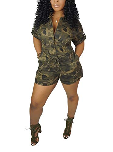 LROSEY Womens Casual Camo High Waist Shorts Pants Jumpsuits V Neck Short Sleeve Button Up Rompers with Pockets Plus Size Club