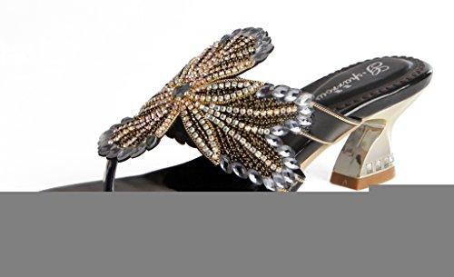 Crc Womens Unico Sparrow Sparkle Strass Microfibra Materiale Festa Di Nozze Sandali Infradito Sandali Flip-flop Nero