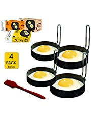 YAGITools Egg Rings Mold- Set of 4 Round Egg Rings for Egg McMuffins - Rust & Leak proof Egg Rings for Frying Eggs - Egg Molds with Foldable Handles + Silicone Basting Brush (3 inch)