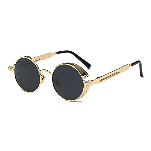 - Round Steampunk Sunglasses Polarized for Women and Men Steam Punk Circle Rose Gold Metal Frame Coating Sun Glasses