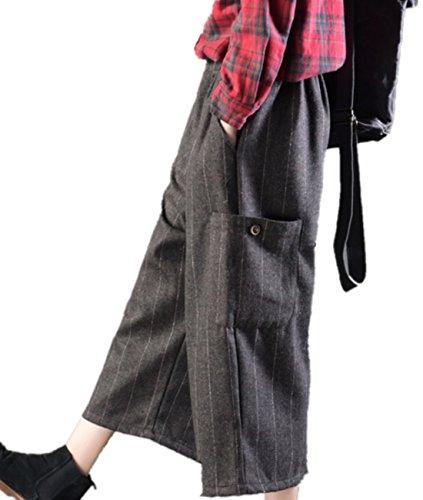 YESNO PK1 Women Casual Cropped Pants Striped Wool Blend Wide Leg Elastic Waist Big Pockets ()