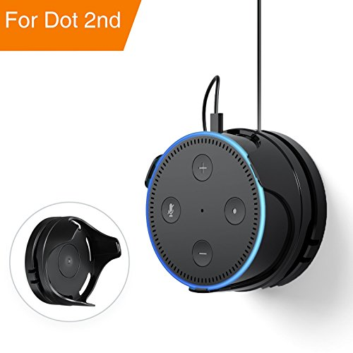 Oittm Outlet Wall Mount Dot 2nd Generation, Flexible Removable Holder Hanger Stand Reusable Washable Glue, Space-Saving Bracket Without Mess Wire Smart Home Speaker(Black)