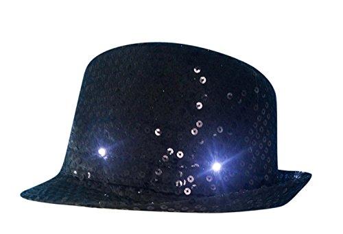 Black LED Light Up Sequin Fedora Party -