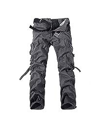Bmeigo Mens Cotton Multi Pocket Cargo Pants Loose Fit Work Trousers -E21