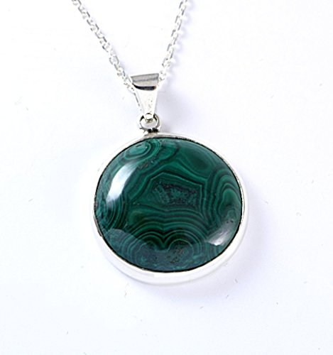 Sterling Silver Round Genuine Green Malachite Medallion Handmade Heart Chakra Pendant 18+2'' Chain (Genuine Malachite Pendant)
