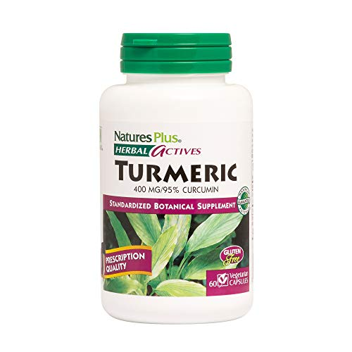Natures Plus Herbal Actives Turmeric - 400 mg, 95% Curcumin, 60 Vegan Capsules - Botanical Anti Inflammatory Supplement, Antioxidant - Vegetarian, Gluten Free - 60 Servings