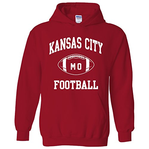 Kansas City Classic Football Arch American Football Team Sports Hoodie - Small - Red -