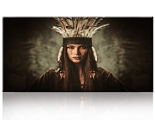 Contemporary Wall Art Decor for Living Room Figure Painting,A Beautiful Indian Girl Wearing A White Feather Hat Black Background,1 Panel Canvas Wall Picture for House Decor Ready to Hang (20''Wx40''H) -