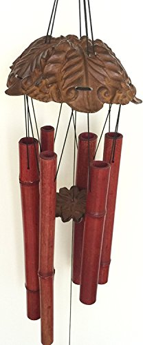 Large Bamboo Wind Chime Carved Resin Top and Maple Leaf Bottom 36