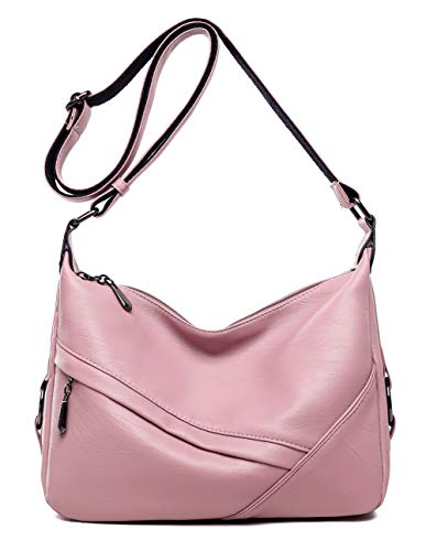 Women's Retro Sling Shoulder Bag from Covelin, Leather Crossbody Tote Handbag Pink