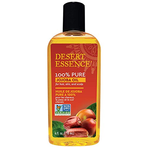 Desert Essence 100% Pure Jojoba Oil - 4 oz - Moisturizes Body Skin & Cleanses Clogged Pores -Nourishes Hair and Scalp - Hair Care & Skincare Essential Oil - Suitable for Sensitive Skin