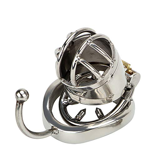 XIAFEIMANTIAN New Cock Penis Rings with Hook Sex Toys for Male Cock Cage Stainless Steel Chastity Lock by XIAFEIMANTIAN