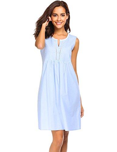 Ekouaer Womens Cotton Nightgown Sleeveless Victorian Chemise Sleepwear (Light Blue, M)