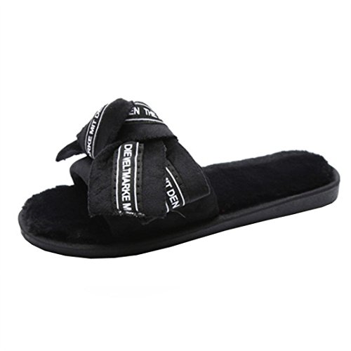Transer® Ladies Big Bow Slippers- Women Comfortable Sandals Home Shoes Black N0dUjnGHoH