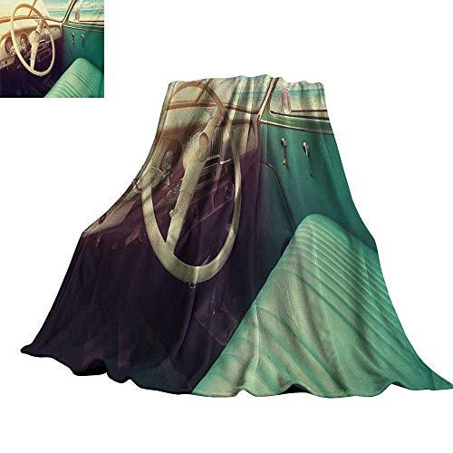 "RenteriaDecor Coastal,Digital Printing Blanket Interior of a Classic Car Parked Seaside and The Cloudy Sky Digital Print Throw Rug Sofa Bedding 50""x30"""
