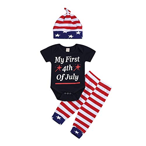 Boys 1st Stripes - Baby Boys My 1st 4th of July Romper + The Stars and Stripes Pants with Hat Independence Day Outfits Set (Black #1, 100 (12-18 Months))