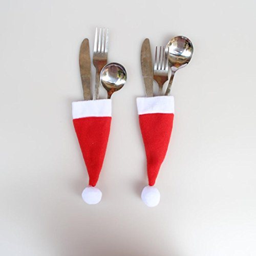Clearance Sale!DEESEE(TM)Christmas Hat Knife and Fork Tool Christmas Decor by DEESEE(TM)_Home (Image #1)