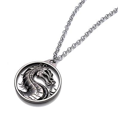Beaux Bijoux Mortal Kombat Dragon Necklace - Armageddon Silver Dragon Pendant - Video Game Accessory For Him QZpKjn