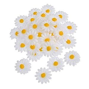 50Pcs Artificial Daisy Flower Faux Daisy Flower Decor Wedding Party Supplies 4cm Simulation Daisy Head 97