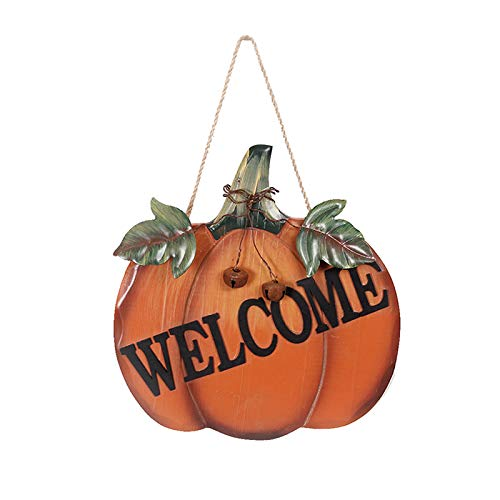 YK Decor Decorative Welcome Pumpkin Sign Wood Wall Décor Autumn Fall Harvest Halloween Thanksgiving Country Decoration with Jute Hanging String ()